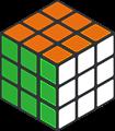 オレンジ・緑色2面透過ルービックキューブのフレームイラスト