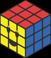 赤、青、黄色のルービックキューブのイラスト・にっこり顔