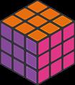 オレンジ・紫色透過ルービックキューブのフレームイラスト