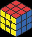 赤、青、黄色のルービックキューブのイラスト・困り顔