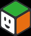 緑、オレンジ、白の立方体のイラスト・にっこり顔