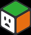 緑、オレンジ、白の立方体のイラスト・困り顔