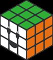 緑、オレンジ、白のルービックキューブのイラスト・にっこり顔
