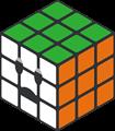 緑、オレンジ、白のルービックキューブのイラスト・困り顔