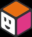 オレンジ・ピンク・白の立方体のイラスト・にっこり顔