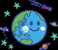 笑顔の地球と人工衛星、UFO、彗星、土星のイラスト、白黒