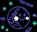 地球と人工衛星、UFO、彗星、土星のイラスト、白黒