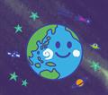 宇宙に浮かぶにっこり顔の地球のイラスト