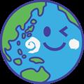 元気にウィンクする地球のイラスト