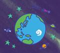 宇宙空間に浮かぶ地球のイラスト