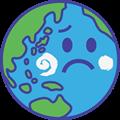 心配顔の地球のイラスト