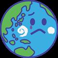 涙を流す地球のイラスト