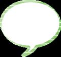 フキダシ、緑に白ボーダー柄丸型