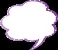 フキダシ、紫に白ドット柄モクモク型