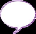 フキダシ、紫に白ボーダー柄丸型