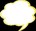 フキダシ、黄色に白ドット柄モクモク型