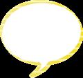 フキダシ、黄色に白ボーダー柄丸型
