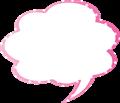フキダシ、ピンクに白ドット柄モクモク型