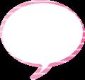 フキダシ、ピンクに白ボーダー、丸型
