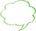 フキダシ、緑に白ドット柄モクモク型