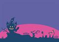 ハロウィンのシルエット背景イラスト・ハガキサイズ