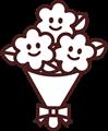 ニコニコ顔花束のイラスト・白黒
