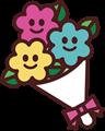 ニコニコ顔花束のイラスト・カラー