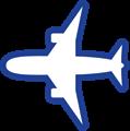 飛行機イラスト・白い塗り、青線