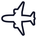 飛行機イラスト・白い塗り、濃紺の線、白縁取り