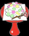 ひなあられが朱色の高杯盛りに盛られていて、桃の花が添えられているイラスト