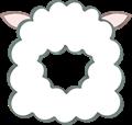 羊の被り物、角なし、正面向き