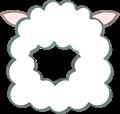 羊の被り物、角なし、斜め向き