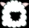 羊の被り物、角なし斜め向き