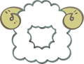 羊の被り物、角あり正面向き