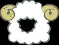 羊の被り物、角あり斜め向き