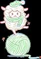羊のイラストの迷路・白い羊と緑の毛糸玉