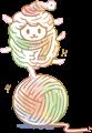 羊のイラストの迷路・グリーンとオレンジの暖かい色調の羊と毛糸玉