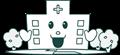 病院建物と背景の木のイラスト・白黒印刷用