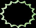 緑色に白水玉のパンクふきだし