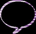 紫色に白縞々柄の丸いふきだし