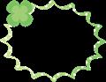 グリーンのクローバーのパンク型ふきだし