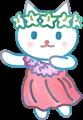 フラダンスを踊る猫、赤い衣装にピンクのレイ