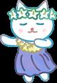 フラダンスを踊る猫、青い衣装に黄色いレイ