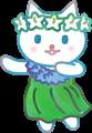 フラダンスを踊る猫、緑の衣装に青いレイ