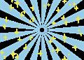 日の出風の放射背景(キラキラ付き)水色