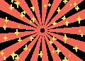 日の出風の放射背景(キラキラ付き)赤色