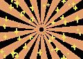 日の出風の放射背景(キラキラ付き)オレンジ