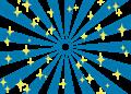 日の出風の放射背景(キラキラ付き)青色
