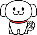 尻尾を振り喜ぶかわいい白い犬のイラスト