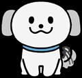 尻尾を振り喜ぶかわいい灰色犬のイラスト